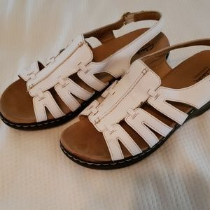 Clark's white sandals with straps